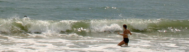 Image shows a girl in the waves at Assateague beach